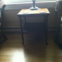 ANTIQUE  SIDE TABLE WITH WICKER [sackville nb].