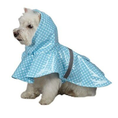 East Side Collection Dog Hooded Rain Jacket Reflective Strip - Polka Dot Blue East Side Collection Polka Dot