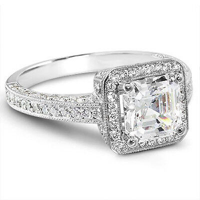 2.00Ct Asscher w/ Micro Pave Diamond Engagement Ring GIA H,VS2 14K White or Rose