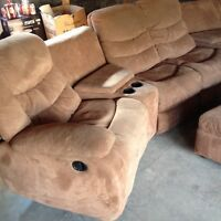 Sectional home theatre with ottoman