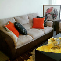 PRICE REDUCED AGAIN: Set of Brick Sofa and Love Seat