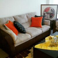 PRICE REDUCED AGAIN: Set of Brick Sofa and Love Seat