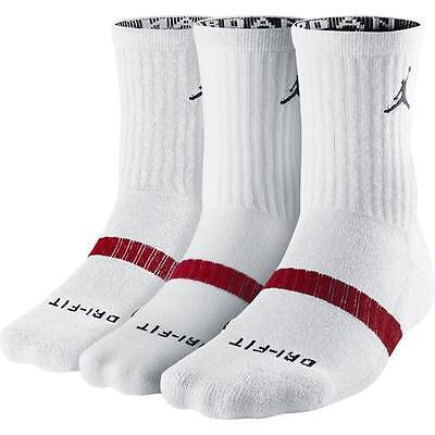3-pairs NIKE Air Jordan Dri-FIT Crew Socks, White, Men's Large 8-12, 546481-100