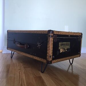 Antique Black Suitcase Trunk Coffee Table