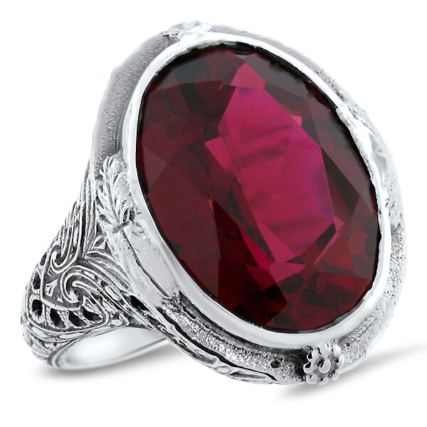 19 CT RED LAB RUBY HEAVY ANTIQUE STYLE 925 STERLING SILVER RING SIZE 10     #582