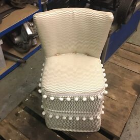 Vintage bedroom chair with Pom Pom's