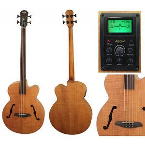 aria feb fl f n fretless acoustic electric bass guitar ebay. Black Bedroom Furniture Sets. Home Design Ideas