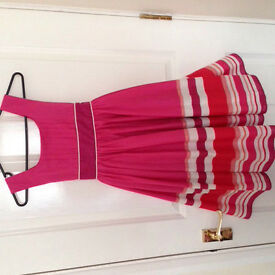 Pink stripy girls dress age 9-10 RRP £40