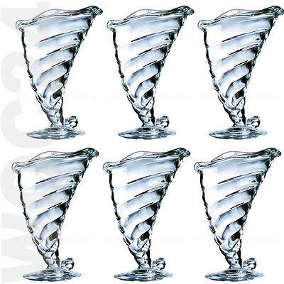6 Eisbecher Füllhorn Dessertschalen Eisschalen Eisschale Eisgläser Eis Glas  Horn Dessert