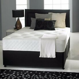 """""""BEST PRICE GUARANTEED"""" 4FT DOUBLE DIVAN BED BASE WITH MEDIUM FIRM MATTRESS & FREE DELIVERY"""