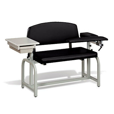 Lab X Extra Wide Padded Phlebotomy Blood Draw Chair With Drawer Black