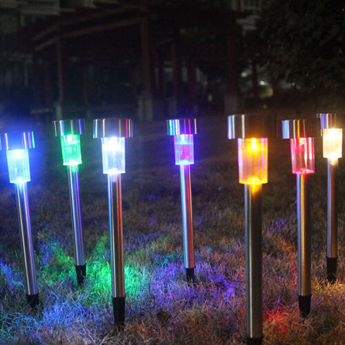4Packs Outdoor Stainless Color Changing Solar LED Landscape Path Light Yard P