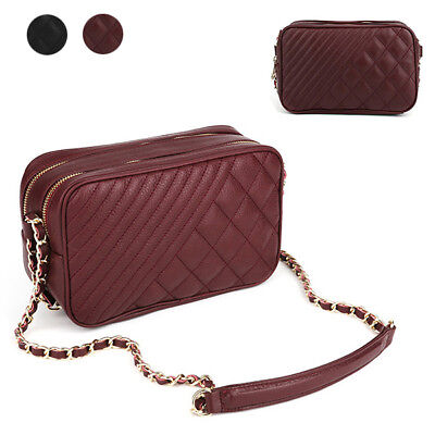 CASUAL SM GOLF DOUBLE ZIP QUILTED CHAIN SHOULDER CROSS BAG REAL COWHIDE LEATHER