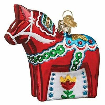 Old World Christmas 44157 Glass Blown Swedish Dala Horse Ornament