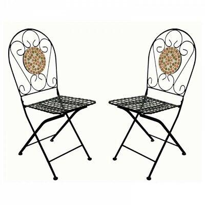 2er-Set Sillas de Mosaico Bonito Jardín Plegables Metal
