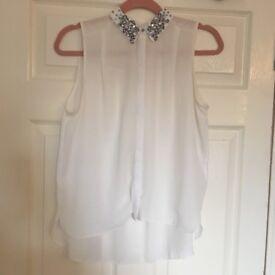 River Island chiffon blouse - White - Size 12