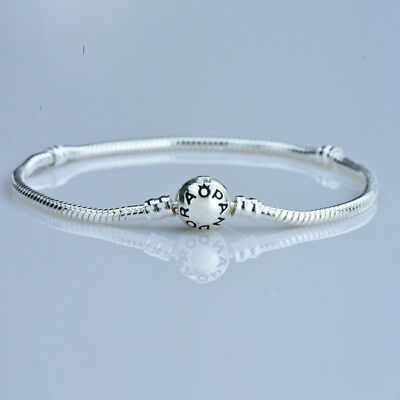 (Round Clasp Silver Snake Chain Bracelet For European Charm Bead 7-7/8'' 20cm)