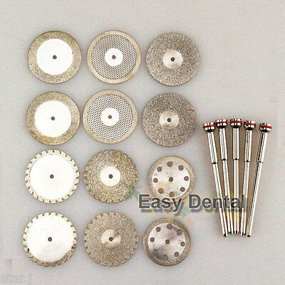 12 Dental Diamond Polishing Wheel Saw Disc Cutter 5 Hp Shank Mandrel 2.35mm