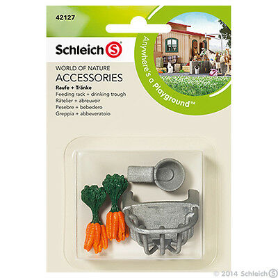 SCHLEICH 42127 Accessories Equestrian Horse Feeding Rack Drinking Trough Carrots