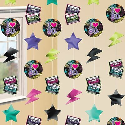 6pk Totally 80s Theme Disco Retro 7ft String Party Decorations - 80s Themed Birthday Party