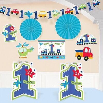 All Aboard 1st Birthday Boy 10 Piece Room Decorating Kit Decoration New & Sealed