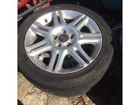 4 Saab alloy wheels 225/45/17 tyres