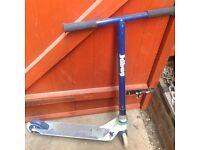 Blue stunt scooter