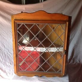 Corner display cupboard with leaded glass door