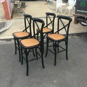 4X Bentwood rattan cross back bar/kitchen stools WE CAN DELIVER