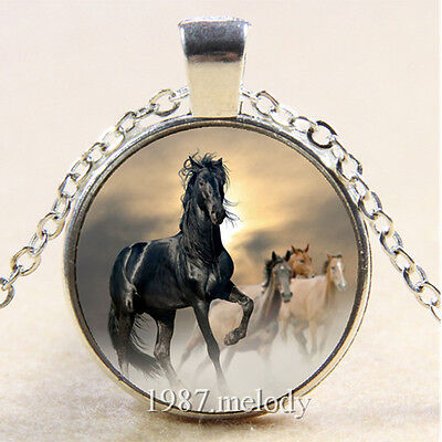 New Cabochon Glass Tibet Silver Bronze Black Chain Pendant Necklace Horses
