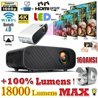 1080P HD WiFi Bluetooth 3D LED Mini Video Projector Home Cinema 18000 Lumens 4K