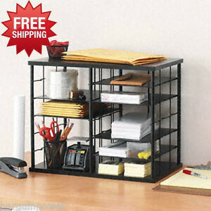 Rubbermaid 12 Slot Organizer COLLEGE DORM Desktop Sorter MDF Storage