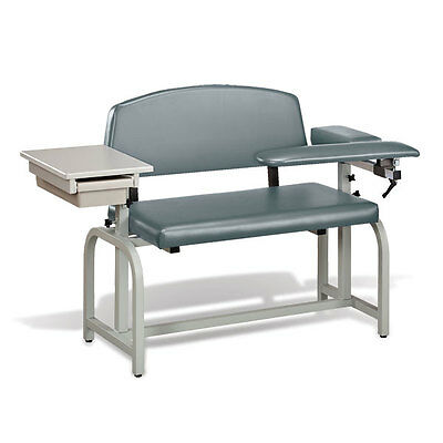 Lab X Extra Wide Padded Phlebotomy Blood Draw Chair With Drawer Gun Metal