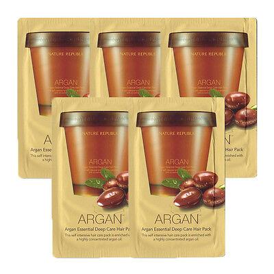 [NATURE REPUBLIC] Argan Essential Deep Care Hair Pack Samples 5pcs New