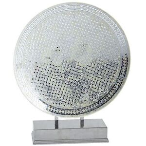 White and Silver Decorative Mosaic Platter with Stand