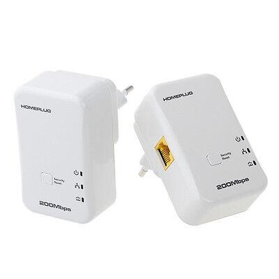 2X 200Mbps Mini Homeplug Network Extender AV Powerline Adapter Kit Ethernet