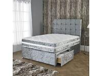 LUXURY CRUSHED VELVET DIVAN BED SETS