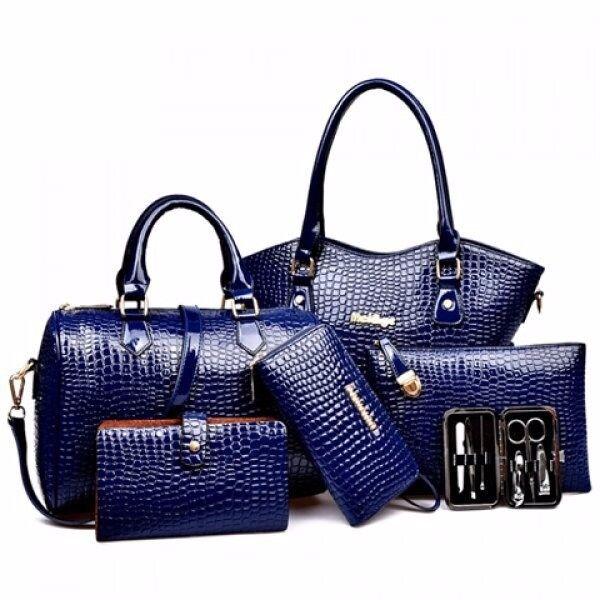 Embossed Tote Handbag 6Pc Set