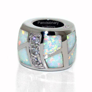 White Opal & CZ .925 Sterling Silver European Charm Bead for Bracelet