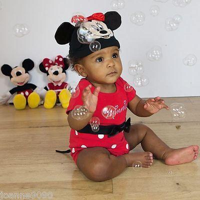 Baby Mädchen Kleinkind Disney Minnie Maus Kostüm Outfit Charakter Body und Hut