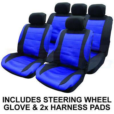 14 PCE BLACK/BLUE MESH CAR SEAT COVERS & STEERING WHEEL COVER SET NEW PROTECTORS