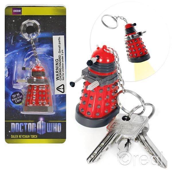 New Doctor Who Dalek Keyring Torch Keychain Flashlight LED BBC Official Licensed