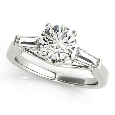 4.30 CT ROUND MOISSANITE FOREVER ONE TAPERED BAGUETTES ENGAG