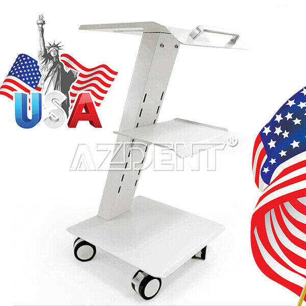 Dental Metal Built-in Socket Tool Cart Three Layers Mobile Instrument Cart #04