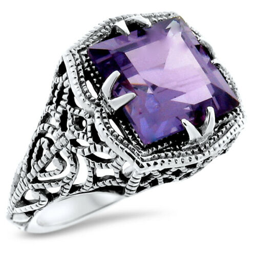 COLOR CHANGING SIM ALEXANDRITE ANTIQUE STYLE 925 STERLING SILVER RING SZ 5  #906