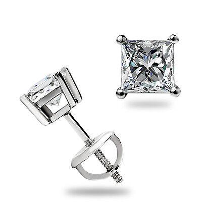 .40 Ct Princess Cut Solitaire Stud Earrings Basket Screwback Real 14k White