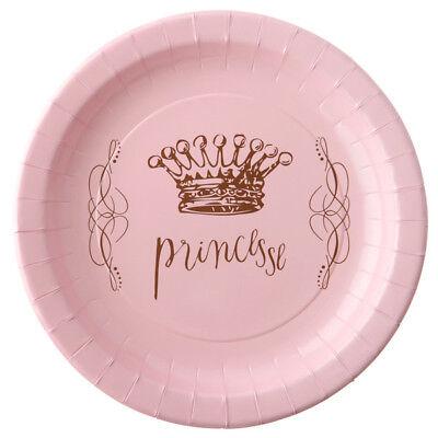 Prinzessinen Party Teller rosa Kindergeburtstag Baby Shower Deko Dekoration Set ()