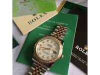 Lady date just diamond automatic womens watch with date bi metal beautiful design rolex boxed