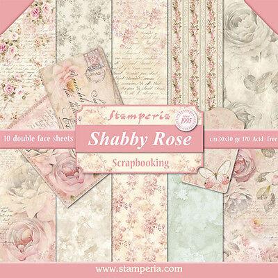 1 Set Scrapbooking Papier 30 x 30 cm SBBL12 shabby rose