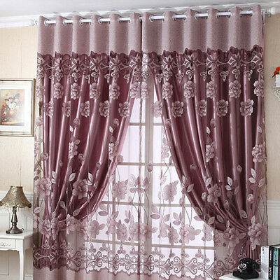 1pc Floral Window Blackout Tulle Curtain Elegant Room Drape Panel Home Decor - Decoration Curtains